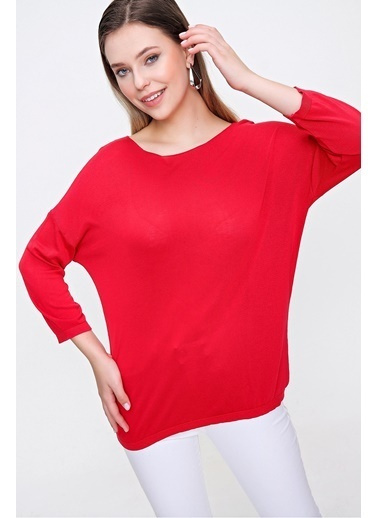 Butikburuç Kadın Kırmızı Bisiklet Yaka Düz Bluz Kırmızı